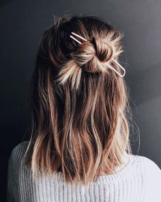 simple #hairknot #hairstyleideas #halfuphalfdown