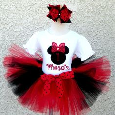Personalized Red and Black Sequin Girl Mouse Birthday Outfit For Girls