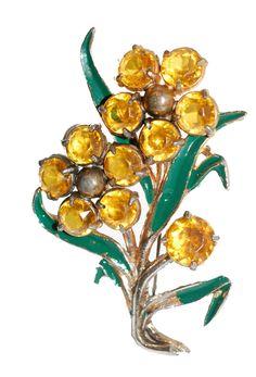 1930s Yellow Rhinestone Floral Brooch with Green Enamel