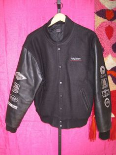 vintage size M POLYGRAM RECORDS Wool Leather PROMO Letterman Jacket Music Audio #Unbranded #BasicJacket