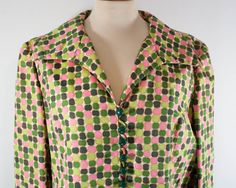1950s silk blazer / pink green silk jacket / late forties  piece / shantung printed shirt buttons Size M L by MyLoftVintage on Etsy