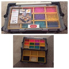 Easy way to hold all rubber bands is to buy a tool box from your local hardware store. This one has removable bins to adjust space. Super easy