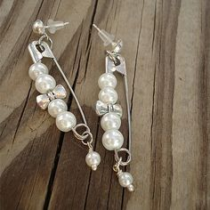 Pearl Earrings Silver Jewelry Safety Pin Jewellery Bow by cdjali, $10.00