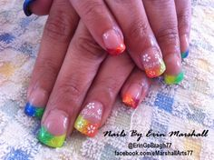 #INM Bright Lights Big City Neon Rainbow Acrylic Nails. Nail Art