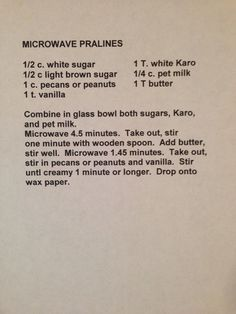 & mins (instead of mins recipe says) Pecan Recipes, Fudge Recipes, Cookbook Recipes, Candy Recipes, Sweet Recipes, Holiday Recipes, Microwave Pralines Recipe, Praline Recipe, Praline Candy