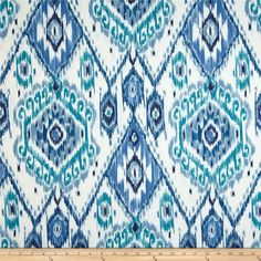 Richloom Indoor/Outdoor Losani Pacific from @fabricdotcom  From Richloom Fabrics, this great indoor/outdoor fabric is stain and water resistant. It is perfect for outdoor settings and indoors in sunny rooms. It is fade resistant up to 500 hours of direct sun exposure. Create decorative toss pillows, chair pads, slipcovers, placemats, and tote bags. Colors include white, teal, blue, stone blue and navy blue.