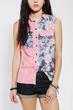 Pins And Needles Floral Chambray Sleeveless Shirt #UrbanOutfitters