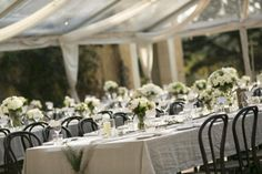 Elegant and romantic marquee table setting