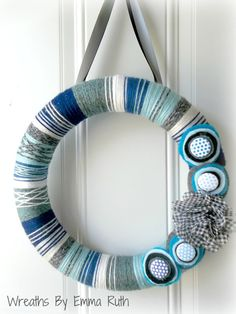 Blue Black Modern Striped Yarn Wreath by WreathsByEmmaRuth on Etsy. via Etsy.
