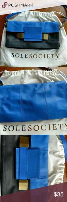 New Sole Society leather handbag New and never used! Sole Society blue and black leather gold chain strap handbag. Sole Society Bags Shoulder Bags