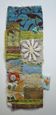 Textile Collage Strippy unframed by MandyPattullo on Etsy, £30.00
