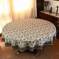 Spring Tablecloth Round 177 Indian Home Decor Floral Cotton: Amazon.co.uk: Kitchen & Home