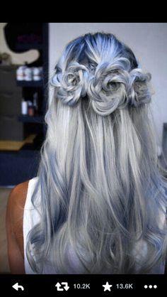Sliver blue grey metallic hair rose