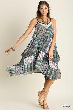 @knittedbelle #knittedbelle Boho Print Hankerchief Dress