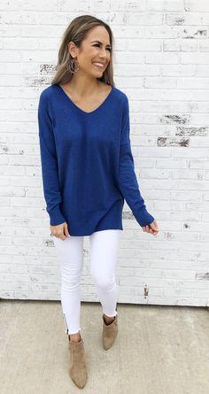 e90757bba2 Wren-Royal Blue. V-neckline. Super soft knit fabric. Tunic style