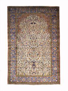 Kashan silk prayer rug   central persia, circa 1900   6 ft. 8 in. x 4 ft. 3 in.  - FREEMAN'S