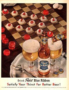 1952 Pabst Blue Ribbon Beer vintage print ad Checker by Vividiom, $9.00