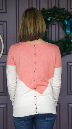 February Stitch Fix Review [One Of My Favorites Yet] 41Hawthorn - Presley Colorblock Button-Back Sweater @stitchfix