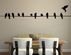 Bird on Wire Wall Decal  LARGE by StudioDecals on Etsy, $58.00