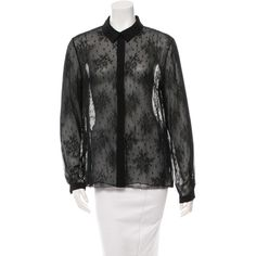 Pre-owned Jason Wu Sheer Button-Up Blouse ($110) ❤ liked on Polyvore featuring tops, blouses, black, button down blouse, long sleeve lace blouse, lace collar blouse, sheer blouse and sheer button up blouse