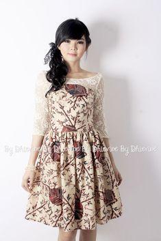 Batik and lace Dress Brukat, Kebaya Dress, Batik Kebaya, The Dress, Blouse Batik, Batik Dress, Long Dress Fashion, Fashion Dresses, Simple Dresses