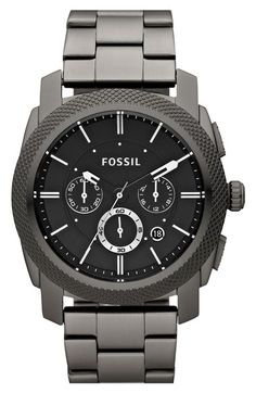 Free shipping and returns on Fossil 'Machine' Chronograph Bracelet Watch, 45mm at Nordstrom.com. A knurled topring adds cool texture to a chronograph watch handsomely encased in brushed ion-plated steel.