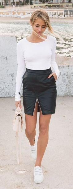 White Long Sleeve Top, Black Leather Zip Skirt, White Sneakers | Janni Deler