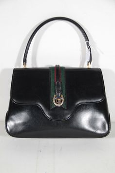 034573782186 GUCCI Italian vintage Black Leather handbag Flap Purse satchel with stirrup  MP Vintage Gucci