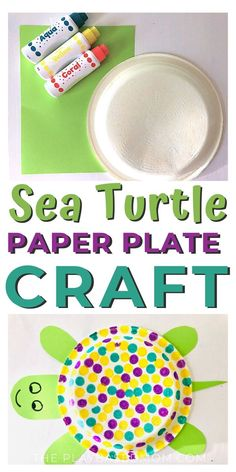 Adorable Paper Plate Sea Turtle Craft - The Play Based Mom Paper Plate Crafts For Kids, Animal Crafts For Kids, Summer Crafts For Kids, Crafts For Kids To Make, Art For Kids, Kid Art, Spring Crafts, Toddler Fun, Toddler Crafts