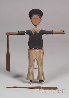 """Folk Art """"Dewey Boy"""" Sailor Whirligig Figure, probably Nantucket, early 20th century, carved and polychrome painted figure with articulated arms with paddles, no stand, (imperfections), ht. 19 in."""