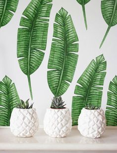 Banana leaf Wallpaper, Removable Wallpaper, Self-adhesive Wallpaper, Tropical Wall Décor, Jungle Wallcovering - JW034