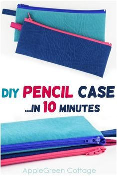 Sew a diy pencil case using this super easy tutorial. Zippered pouches are perfect for storing and organizing all your small items. These diy pencil cases are super quick and easy to make. Fill them with a few cute sharpies or pencils, and you've got a great diy back-to-school gift! It will make  agreat cosmetic pouch for a few makeup items and lipstick. See how to make one in 10 minutes - or less! #diypouch #zippercase #zipper #sewing Sewing To Sell, Sewing For Kids, Free Sewing, Craft Tutorials, Sewing Tutorials, Sewing Patterns, Craft Ideas, Diy Pencil Case, Pencil Cases