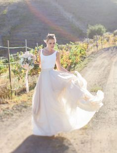 such a gorgeous two-piece Carol Hannah wedding dress