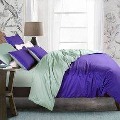 Violet and Artichoke Color Simply Chic Noble Excellence Luxury Western Style 100% Egyptian Cotton Girls Full, Queen Size Bedding Sets