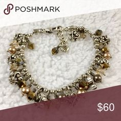 BRIGHTON Pearl  and Bronze Crystals Bracelet BRIGHTON Sparkle Heart Cannes Pearl with Champagne and Bronze Crystals Charm Bracelet. Beautiful Brighton Jewelry Bracelets