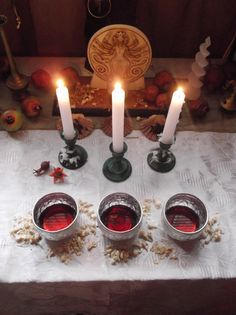 Hecate altar with offerings.