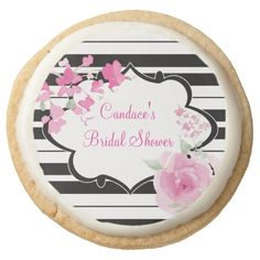 Black, White, flower Bridal Shower Cookies