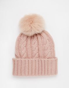 ASOS | ASOS Cable Faux Fur Pom Beanie at ASOS