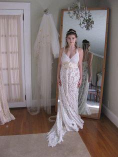 Beach Wedding Dress Boho Wedding Dress Lace Wedding Dress Boho Wedding Gown, Bridal Gowns, Lace Wedding, Wedding Dresses, Hippie Bride, Vintage Cotton, Dress Lace, Beach, Wedding Stuff
