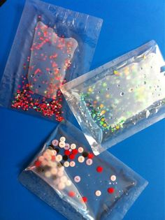 These great water sensory bags are made with laminating pouches. They have been sealled at the sides with an iron! What a great idea. I can think of lots more things you could fill them with. Can you?