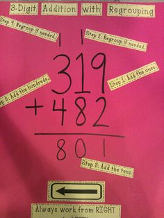 Math anchor chart: addition with regrouping