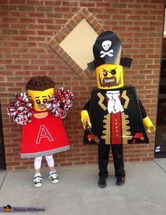 Lego Minifigures: Pirate and Cheerleader Homemade Costume - 2013 Halloween Costume Contest Lego Halloween Costumes, Cheerleader Halloween Costume, Halloween Costume Contest, Cute Costumes, Halloween Fun, Awesome Costumes, Halloween Tricks, Family Costumes, Cosplay Costumes