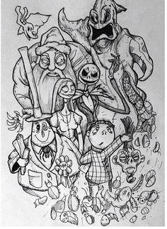 Nightmare before Christmas Skull Coloring Pages, Free Adult Coloring Pages, Disney Coloring Pages, Christmas Coloring Pages, Coloring Book Pages, Nightmare Before Christmas Drawings, Stress Coloring Book, Halloween Drawings, Halloween Coloring