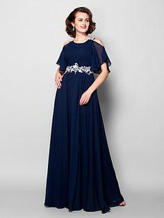 A-line Jewel Floor-length Chiffon Mother of the Bride Dress (2050343) | LightInTheBox