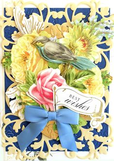 Greeting card made using Anna Griffin materials Anna Griffin Inc, Anna Griffin Cards, Spellbinders Cards, Card Making Kits, Craft Day, 3d Cards, Bird Cages, Pretty Cards, Card Tags