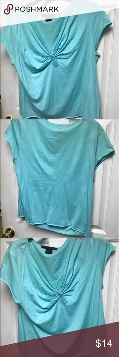 Women's Blue V Neck knotted Top with Cap Sleeves Willi Smith only worn once women's XL over head cotton Top cap sleeves Willi Smith Tops Tees - Short Sleeve