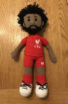 Crocheting Mo Salah doll for a Liverpool FC fan! Liverpool Bird, Liverpool Memes, Liverpool Poster, Liverpool Fc Wallpaper, Liverpool Wallpapers, Amigurumi Patterns, Knitting Patterns, Crochet Patterns, Crochet Teddy