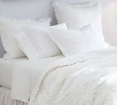 Ruched Voile Duvet Cover & Sham - White. Pottery Barn. In LOVE with this bedding!