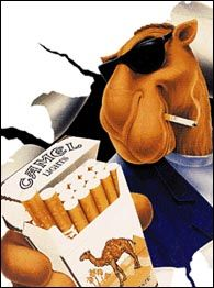 Joe Camel smoking a cigarette