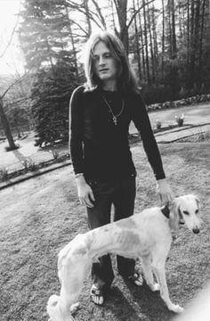 John Paul Jones and his Saluki dog posing for promo pics in 1969 for the release of their album Led Zep II Zed Leppelin, Led Zeppelin Iii, Classic Rock Artists, El Rock And Roll, John Paul Jones, Dog Poses, John Bonham, Dazed And Confused, British Rock